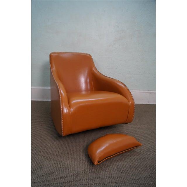 Unusual Italian Leather Rocking Lounge Chair - Image 8 of 10