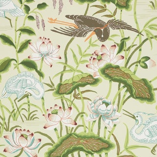 Schumacher Lotus Garden Wallpaper in Parchment For Sale