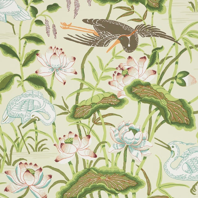 Schumacher Lotus Garden Wallpaper in Parchment For Sale