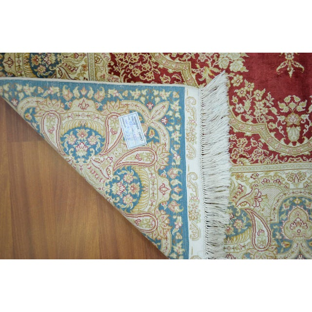 Hand Knotted Turkish Silk Rug - 4′1″ × 5′11″ - Image 9 of 9