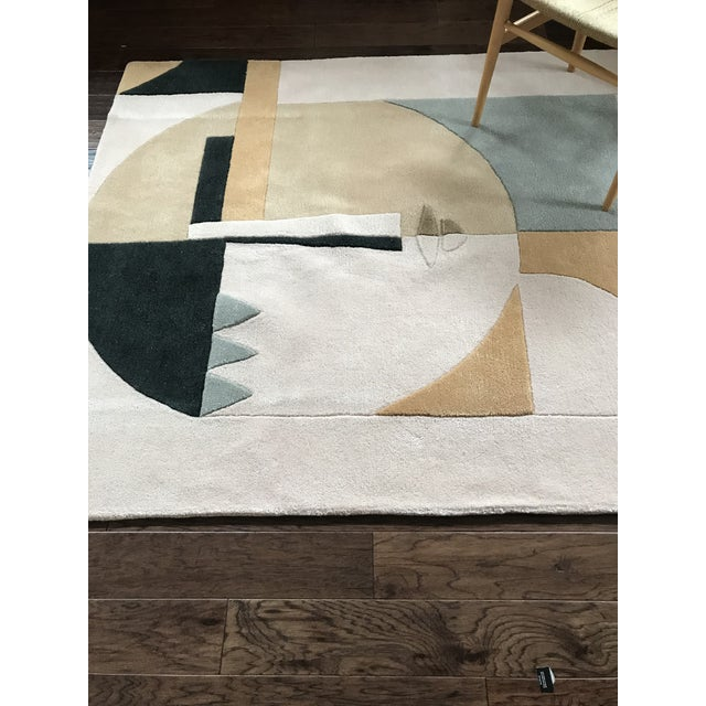 Tan Custom Modern Abstract Wool Female Face Hi Low Pile Rug 5' X 7' For Sale - Image 8 of 8