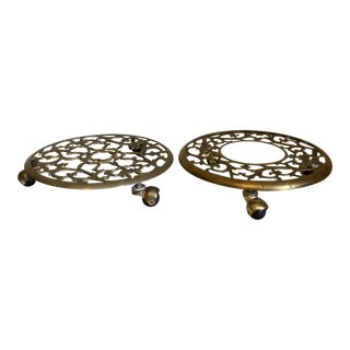 Rolling Brass Plant Stands - A Pair
