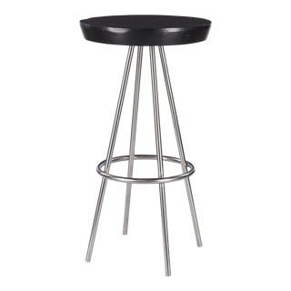 "1970s Modern Chrome Base Round ""Mange Debout"" Tall Table For Sale"