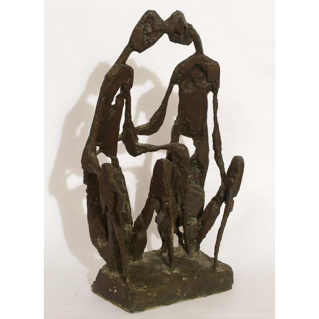 "Brutalist Mid-Century Modern Brutalist ""The Lovers"" Bronze Sculpture For Sale - Image 3 of 6"