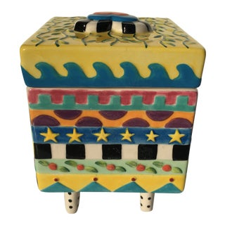 Shannon Smith Design Memphis Ceramic Box, Signed For Sale