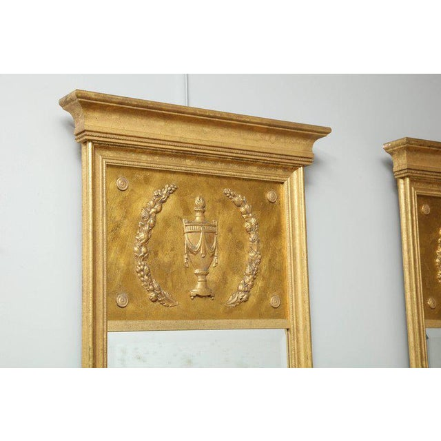 1970s 1970s Vintage Giltwood Neoclassical Style Mirrors- A Pair For Sale - Image 5 of 8