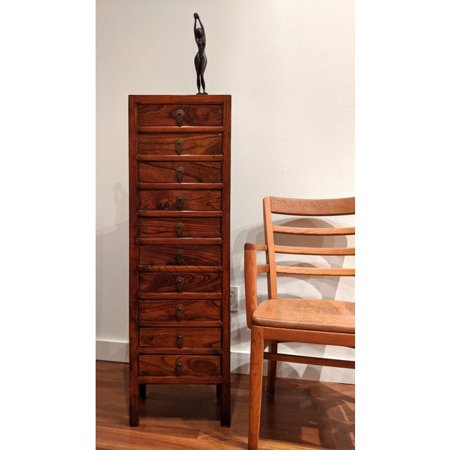 Tall Slim Elm Jewelry Dresser With Brass Chinoiserie Pulls For Sale - Image 11 of 12