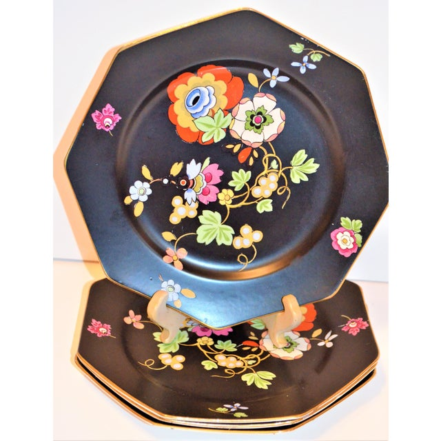 Crown Ducal 1920s Antique Art Deco Black and Floral Plates - Set of 4 For Sale - Image 4 of 12