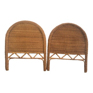 Vintage Boho Rattan Twin Headboards - a Pair For Sale