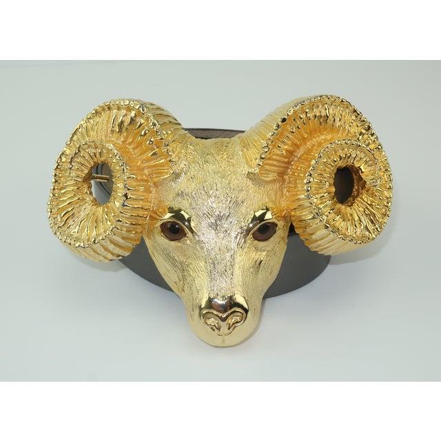 1993 Margarita Barrera Gold Metal Ram Buckle Belt For Sale - Image 13 of 13