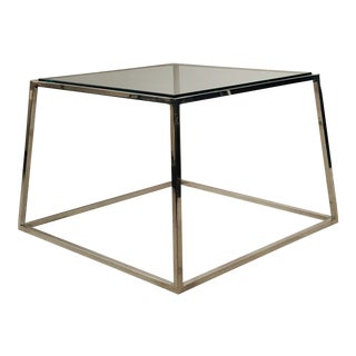 Tapered Glass and Aluminum Side Table For Sale