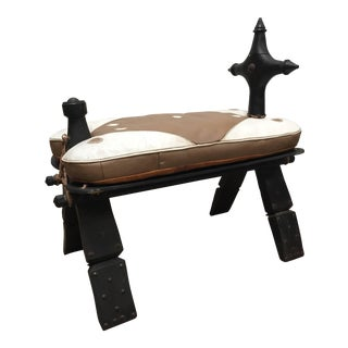 Vintage Mid Century Moroccan Tuareg Camel Wooden Saddle Stool With Leather Cushion For Sale