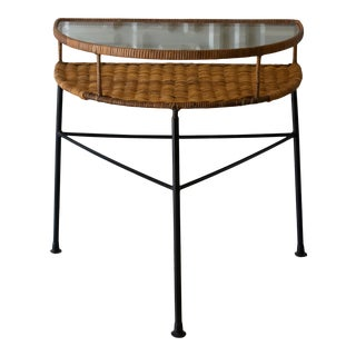 Vintage Mid-Century Modern Wicker and Iron Half-Round Console Table For Sale