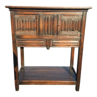 Gothic Revival Oak English Country Style Cabinet For Sale