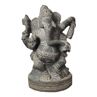 Ganesh Statue in Granite Stone Hand Carved South India Large Heavy For Sale