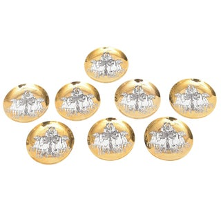 Set of Eight Italian Fornasetti Gilded Porcelain Roman Chariot Coasters For Sale