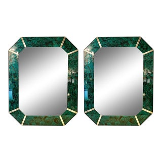 Hollywood Regency Octagonal Wall Mirrors Antiqued Malachite Style For Sale