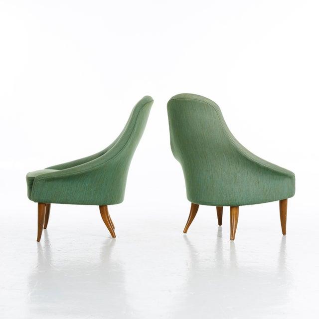 Mid-Century Modern Pair of Kerstin Horlin Holmquist Lilla Eva Armchairs, Sweden, 1950s For Sale - Image 3 of 7