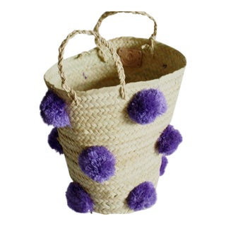 Moroccan Lilac Pompom Basket For Sale