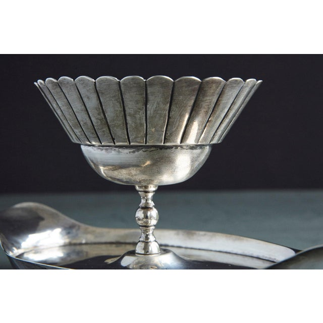 French Sterling Serving Tray With Flower Form Footed Center Bowl, Circa 1960s For Sale In New York - Image 6 of 12