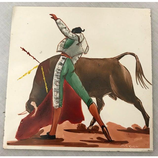 Ceramic Mid 20th Century Torero & Bull Ceramic Tiles - Set of 6 For Sale - Image 7 of 8