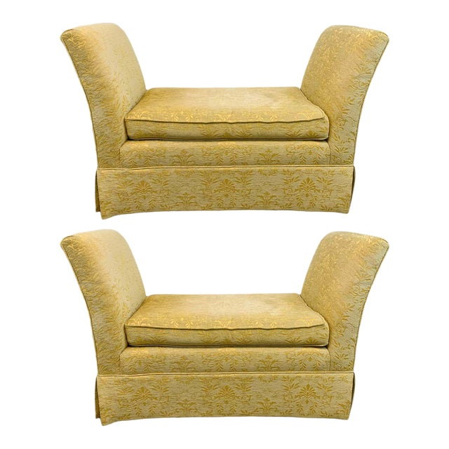 French Art Deco Style Yellow Gold Bench or Window Seat After Dominique, a Pair For Sale