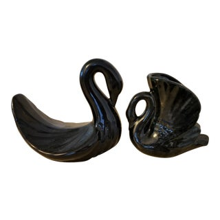 Last Call. Vintage Black Ceramic Towel and Plant Holder Swans - a Pairlast For Sale
