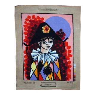 1980s, Handmade Vintage French Tapestry Arlequin 1.6' X 2' For Sale