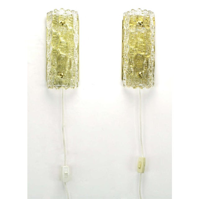 Pair Carl Fagerlund For Orrefors Glass & Brass Sconces - Image 2 of 10