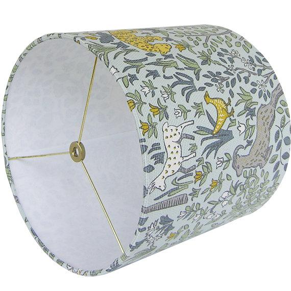 Boho Chic Robert Allen Folkland Aquatint Blue Woodland Nursery Drum Lamp Shade For Sale - Image 3 of 3