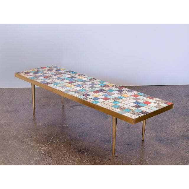 California Modern Tile-Top Brass Coffee Table For Sale - Image 10 of 10