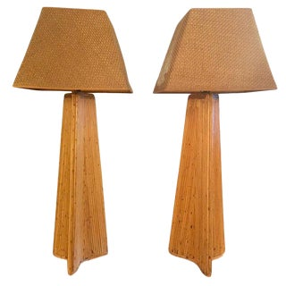 Vintage Crespi Style Tall Pencil Rattan Lamps - a Pair For Sale
