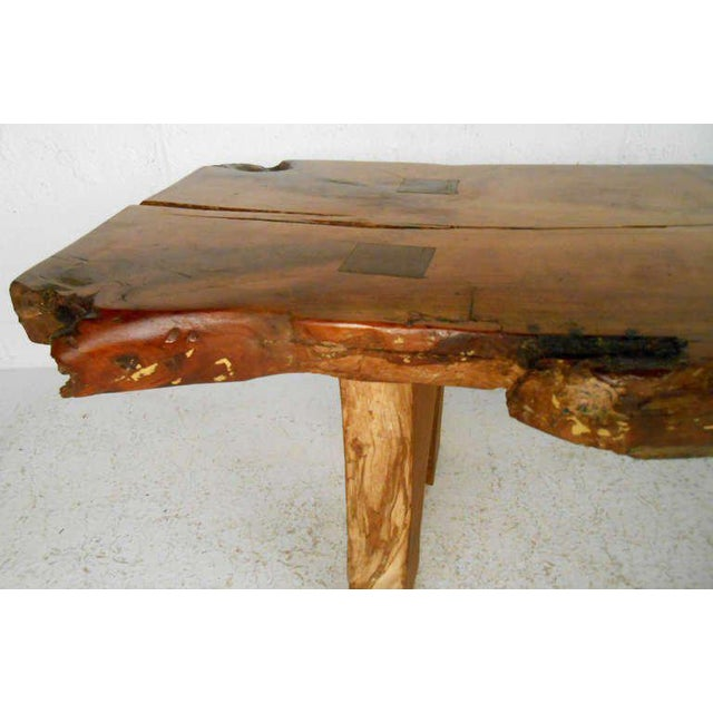 Wood Rustic Wood Slab Coffee Table For Sale - Image 7 of 8