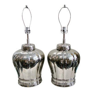 Vintage Silver Ceramic Ginger Jar Asian Style Lamps, A-Pair For Sale