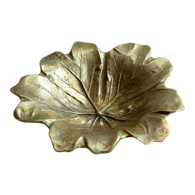 1940s Brass Round Leaf Dish For Sale - Image 5 of 5