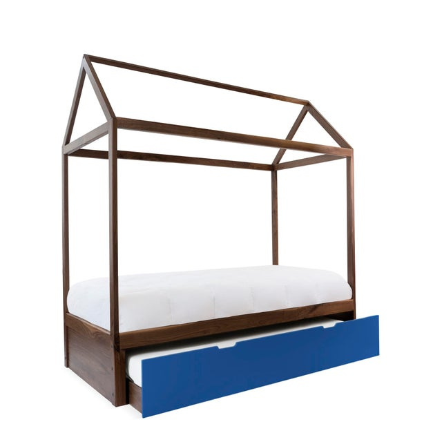Contemporary Domo Zen Twin Trundle Canopy Bed in Walnut With Pacific Blue Finish For Sale - Image 3 of 3