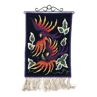 Vintage Swedish/Scandinavian Embroidered Twist Stitch Wall Hanging / Tapestry For Sale