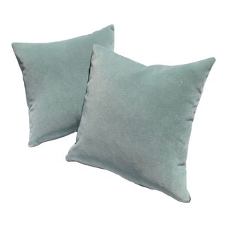 Dreamy Seafoam Velvet Feather Down Pillows - a Pair / Custom Made For Sale