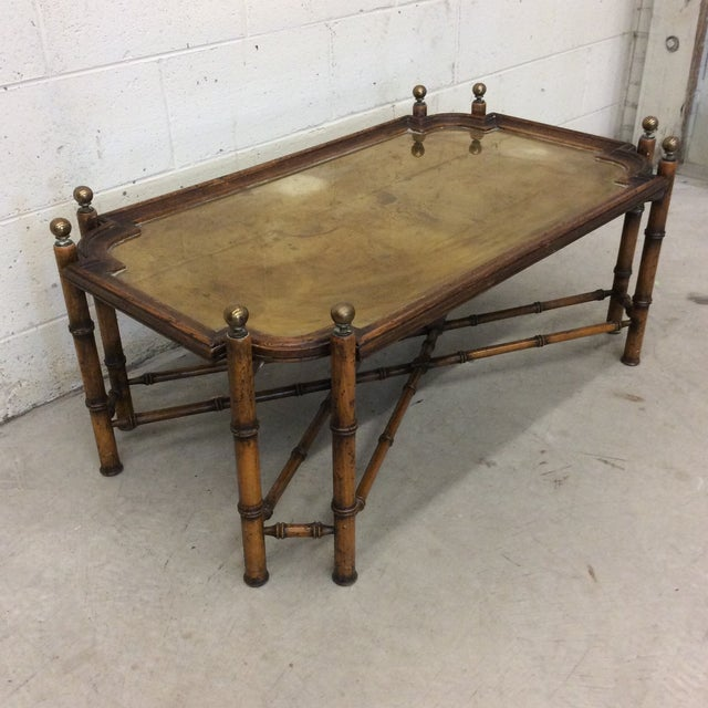 Asian Chinese Chippendale Faux Bamboo and Brass Tray Coffee Table by Sarreid For Sale - Image 3 of 11