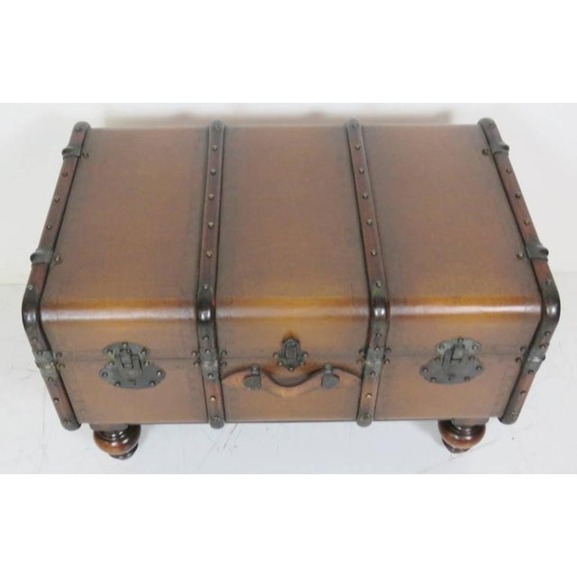 Traditional Custom Leather Trunk Coffee Table For Sale - Image 3 of 6