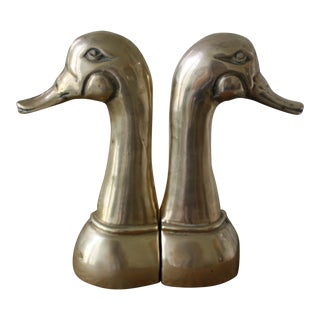 Brass Duckhead Bookends - A Pair