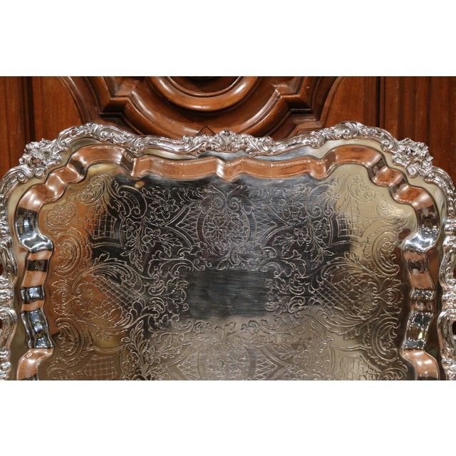 Early 20th Century Early 20th Century French Silver Plated Tray With Ornate Scrolls and Engravings For Sale - Image 5 of 9