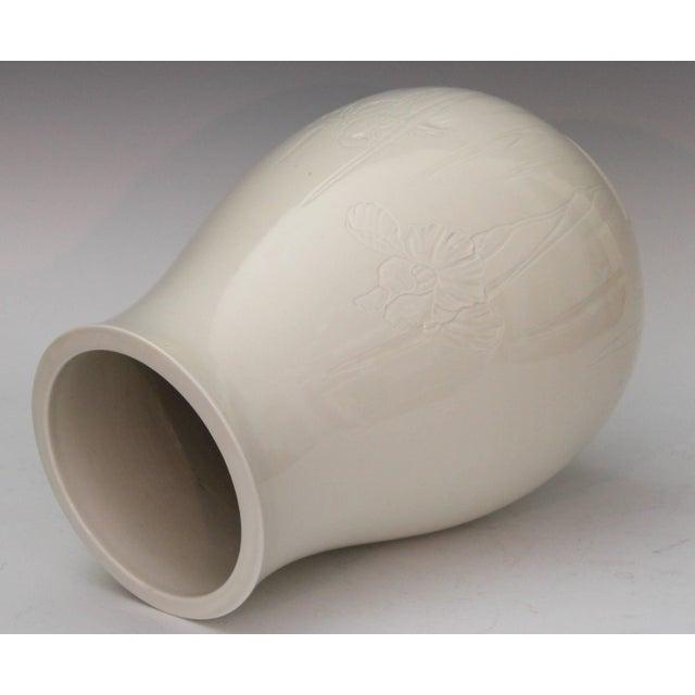 Antique Japanese Carved Studio Blanc De Chine Porcelain Vase For Sale - Image 4 of 11