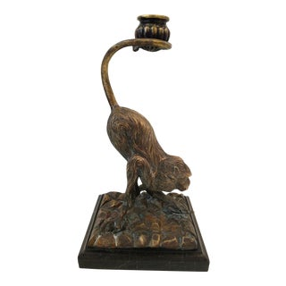 Maitland Smith Cast Brass Monkey Candle Holder For Sale