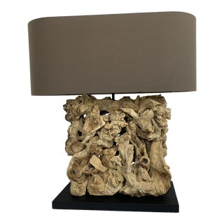 Driftwood Table Lamp on Black Base For Sale