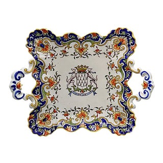 French Faience Serving Plate W/ Crest For Sale