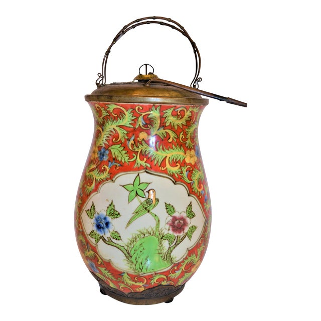 John-Richard Red Chinoiserie Porcelain and Brass Urn For Sale
