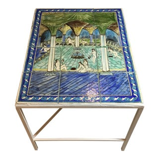 Vintage Persian Tiles Ceramic Coffee Table For Sale