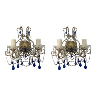 Boho Chic Crystal Beaded Cobalt Drops Wall Sconces - a Pair For Sale