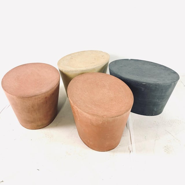 Concrete Original Maya Lin for Knoll Studio Concrete Stone Garden or Gallery Stools - Set of 4 Various Colors For Sale - Image 7 of 13